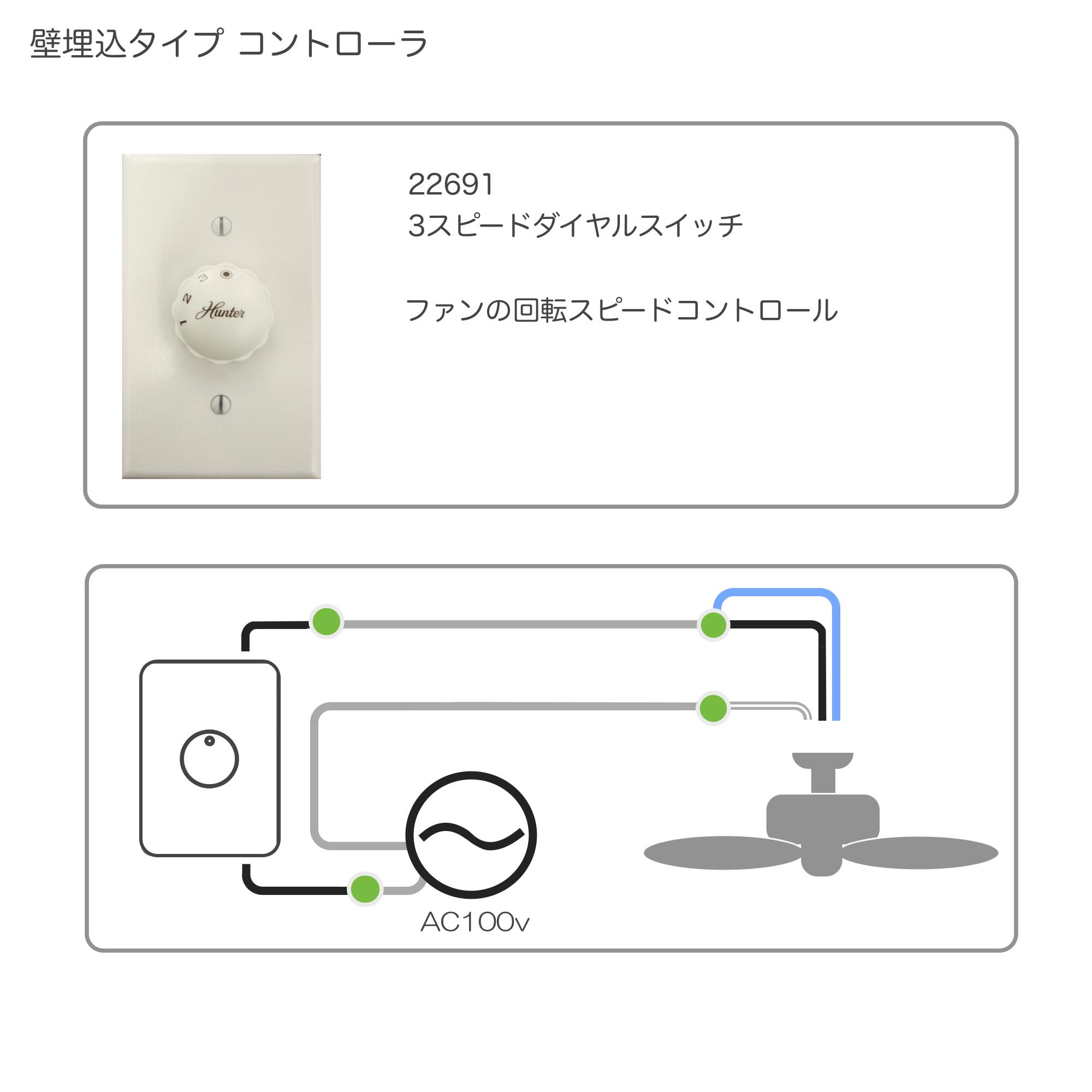 壁コントローラ (3速切替ダイヤル)ハンター カサブランカ シーリンファン専用