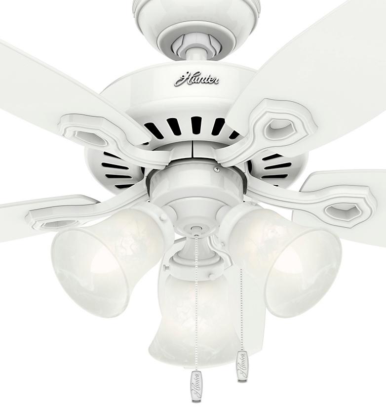 品番52105 ビルダースモールルーム(ビルダーSR)/スノーホワイト ハンターシーリングファン ライト 画像 ハンターストア㈱