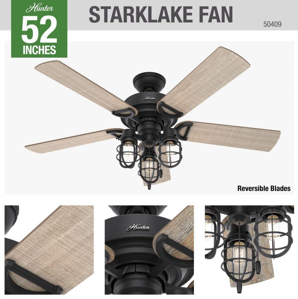 スタークレイ 品番 50409 本体仕上 Natural Iron ハンターシーリングファン ライト画像