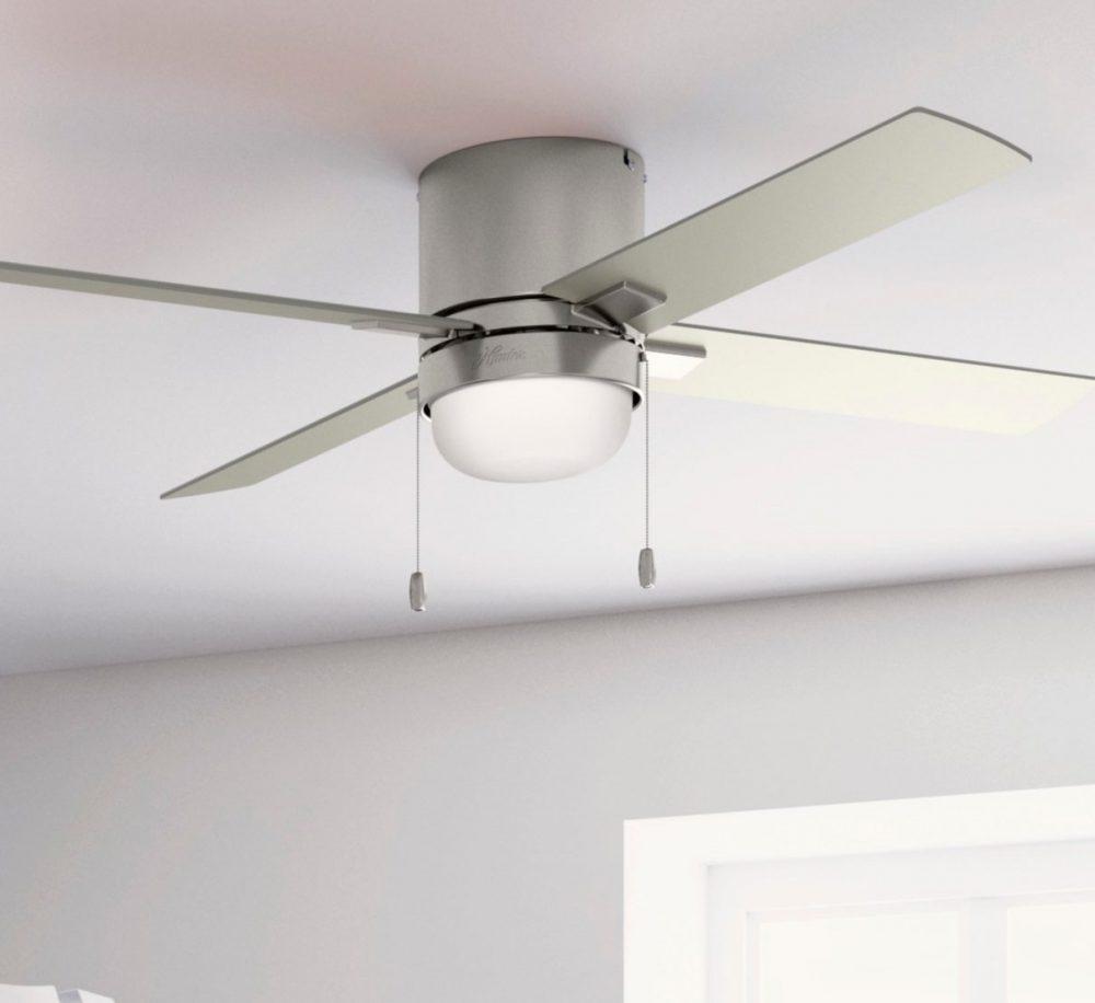 50953 LEDライト付きミニキン52インチ Bニッケル ハンターシーリングファン画像